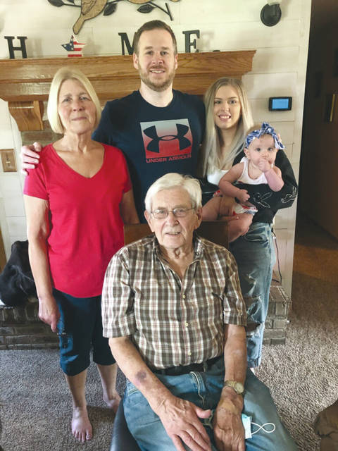 The family of Larry Smallenbarger recently got together for a five generations photo. Pictured in front is great-grandfather Larry Smallenbarger. Behind him is from left, grandmother Susan Brumfield, grandson Steve Brumfield, great-granddaughter Carley Brumfield, and great-great-granddaughter Ella Rae Mancini.
