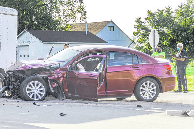 A woman was transported to Wayne HealthCare for evaluation following a two-vehicle collision Tuesday.
