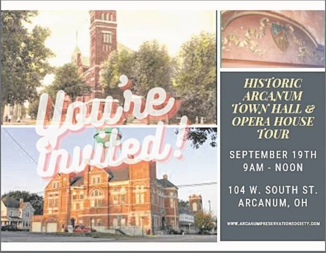 The Arcanum Preservation Society will host a virtual tour as well as in-person tours of the Historic Arcanum Town Hall & Opera House on September 19.