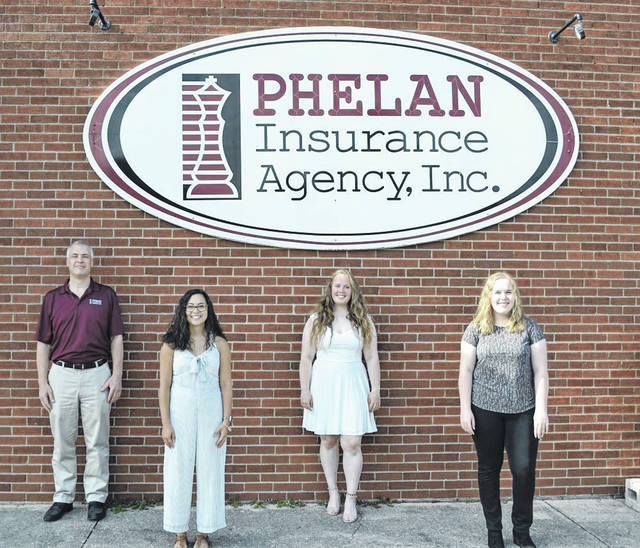 Pictured (left to right): Todd Phelan, president of Phelan Insurance Agency, Versailles; scholarship recipients Danielle McVey of Arcanum, Faith Wilker of Versailles, and Elizabeth Bremke of Sidney.