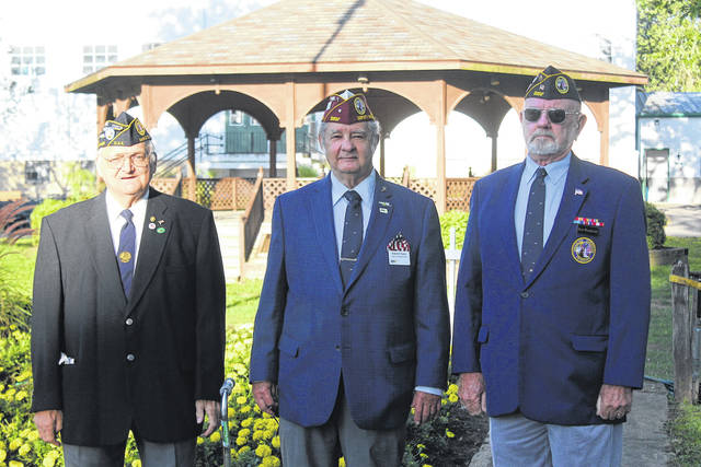 Chapter 57 of the Disabled American Veterans raised the flag during the national anthem at the 2020 Darke County Fair ribbon cutting ceremony. Shown in the photo from left to right, Ivan Christian, Commander Robert A. Foster, and Ken Wombold. Lesley Cantrell is not pictured here, but also helped raise the flag.