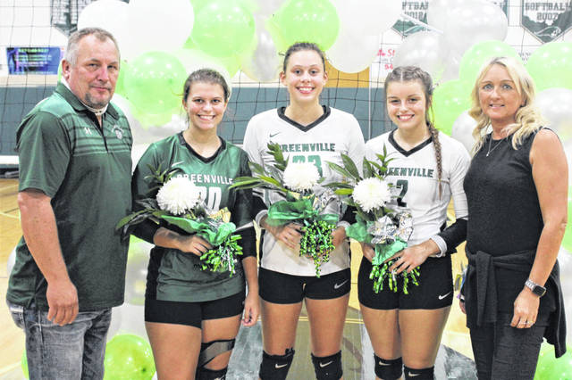 Greenville seniors and coaching staff (L-R) Assistant Coach Jim Hardesty, Carleigh Cox, Abbie Yoder, Allison Powell and Coach Michelle Hardesty.