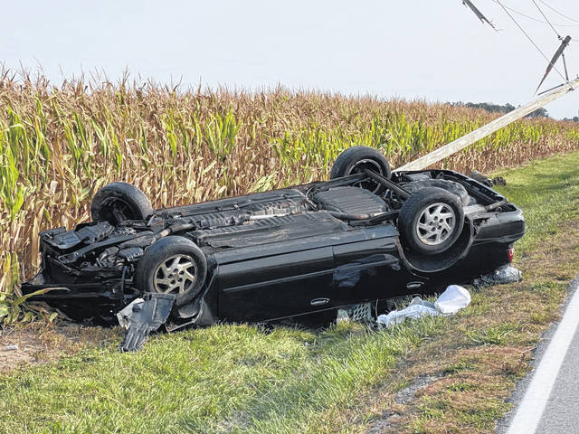 A male driver was transported to Wayne HealthCare for injuries suffered from a rollover crash on Coletown-Lightsville Road Saturday.