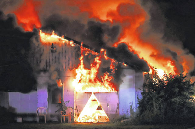 A barn was destroyed in a three-alarm fire early Monday morning at the 5100 block of Folkerth Road.
