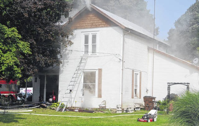 Multiple agencies responded to a house fire Wednesday in Fort Jefferson. One family pet was believed to have perished.