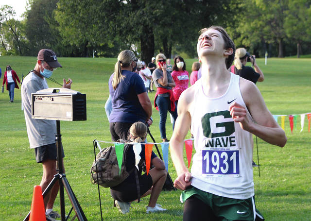 Greenville's Seth Shaffer reacts as he crosses the finish line Tuesday at the MVL All-Star meet.