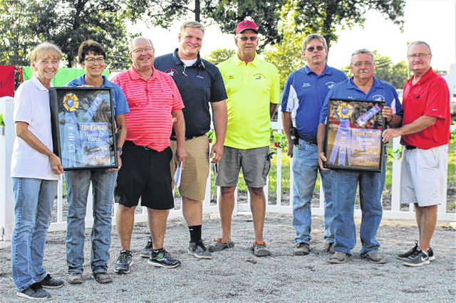 The Great Darke County Fair is presented 2018 Blue Ribbon Fair award at Thursday night races.