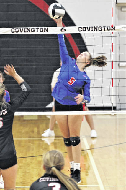 Tri-Village gets a Molly Scantland kill in the Lady Patriots Cross County Conference win over Covington.