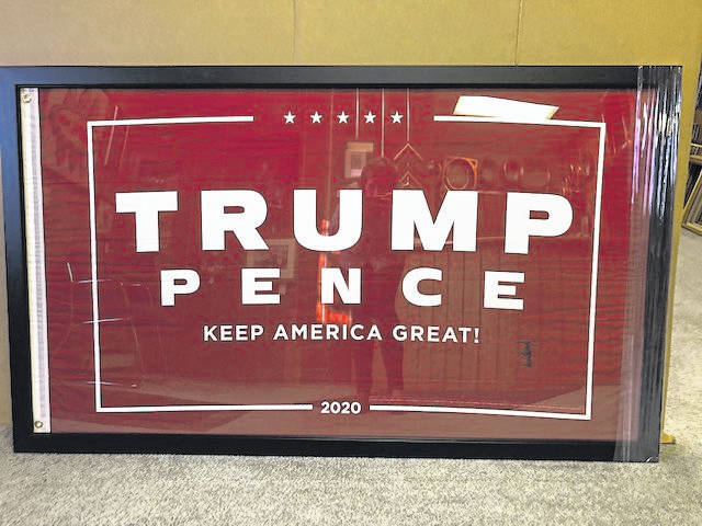 Framed autographed 2020 Trump-Pence Flag to be raffled on Oct. 18.