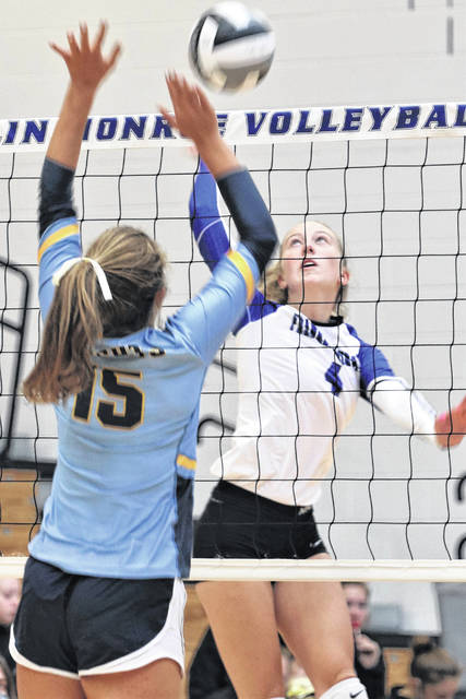 Sadie Bowser slams a kill for Franklin Monroe in the Lady Jets 3-0 non-conference win over Legacy Christian.
