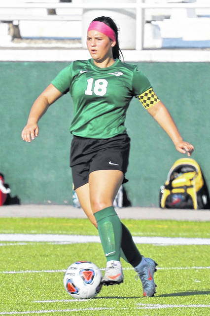 Taylor Gonzalez moves the ball for the Greenville Lady Wave soccer team.