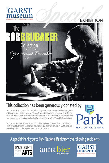 Works by artist Bob Brubaker will be on display at the Garst Museum through December thanks to a generous donation from Park National Bank.