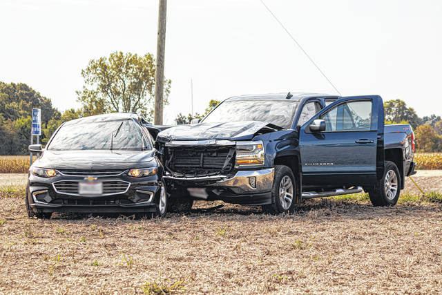 A woman was airlifted to Miami Valley Hospital following a two-vehicle collision Saturday. A male driver in the second vehicle was reportedly uninjured.