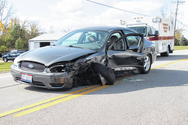 A Greenville woman was transported to Wayne HealthCare Friday following a near head-on collision with another vehicle on US 36. The other driver received minor injuries.