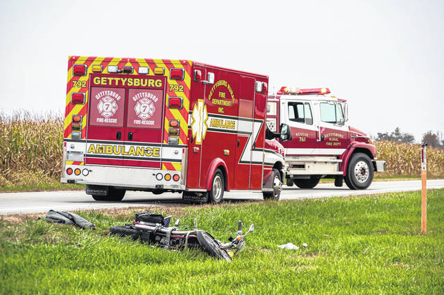 A Greenville man was airlifted to Miami Valley Hospital Sunday following a motorcyle crash.