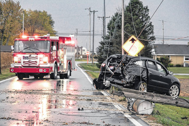 A Troy man was arrested on suspicion of OVI, following a Friday evening crash which left some Arcanum residents without power.