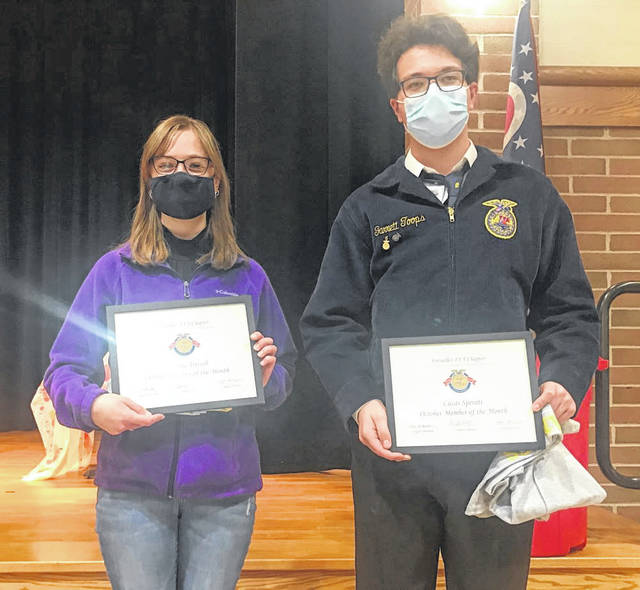 Versailles FFA Members of the Month Jaylynne Trissell and Lucas Sperati were named at the October meeting.