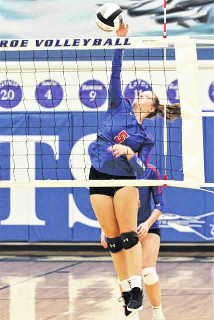 Molly Scantland sends a spike over the net in the Lady Patriots win over FM.