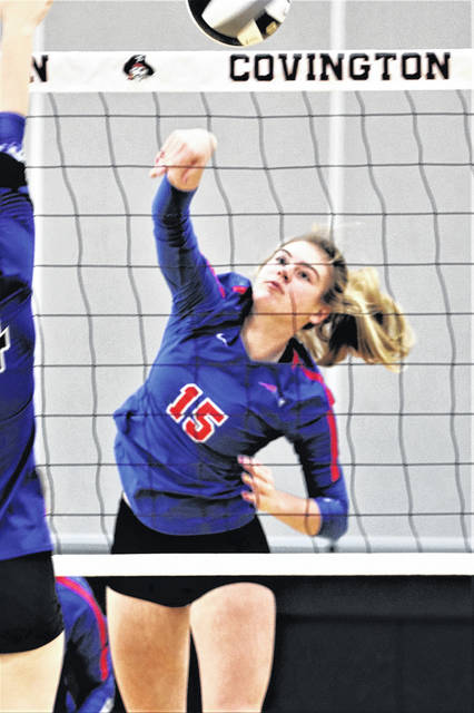 Morgan Hunt scores a kill for the Lady Patriots in OHSAA tournament action