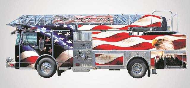 One of the seven fire trucks and support vehicles, wrapped with inspiring national symbols in the Patriots, God and Country national tour.