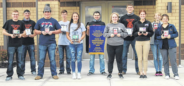 Arcanum FFA Members that received State Recognition during the 2019-2020 school year (pictured left to right): Landon Haney, Brody Williams, Isaac Smith, Luke Brinksneader, Madelyn Fearon, Blayne Hess, Anna Loxley, Cael Gostomsky, Maggie Weiss, Emily Wenning, Laney Fourman.