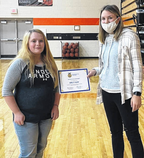 Emily Huff, Bradford FFA member of the month, and Alexis Barhorst, Chapter President.