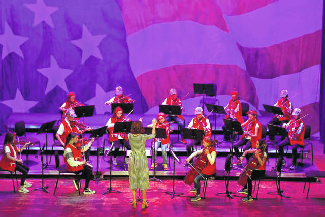 Decolores Montessori orchestras, under the direction of Kathy Douds and Betsy Hoelscher, performed a selection of patriotic music Nov. 14, 2020, at St. Clair Memorial Hall in Greenville.