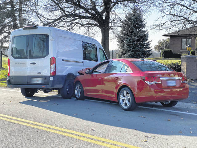 A collision between an Amazon delivery van and another vehicle Friday in Greenville resulted in minor injuries.