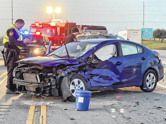 The northbound lane of US Route 127 was temporarily closed Saturday morning following a two-vehicle accident. One person was treated for non-life-threatening injuries.