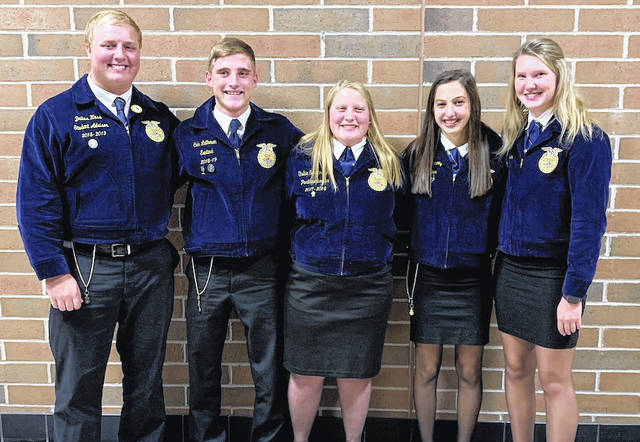 Versailles FFA American Degree Recipients (left to right): Dallas Hess, Cole Luthman, Shelbie Schmitmeyer, Grace McEldowney, and Kimberly Winner and absent from the photo, Marcus Berger.
