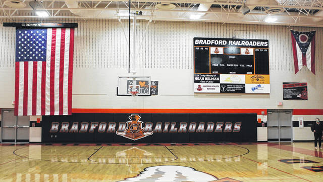 The new Bradford scoreboard, new gym mats, newly resurfaced floor and the new American Flag.
