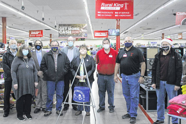 Volunteers for the 2020 Darke County Community Christmas Drive gathered at Rural King for a brief meeting and photo op. Shown from left to right are Mike Boyer, Sharon Fellers, Pastor Mel Musser, Frank Marchal, Doug Klinsig, Christy Cutarelli, Joey French, Rural King General Manager Jim Fennig, and Jim Morehouse.