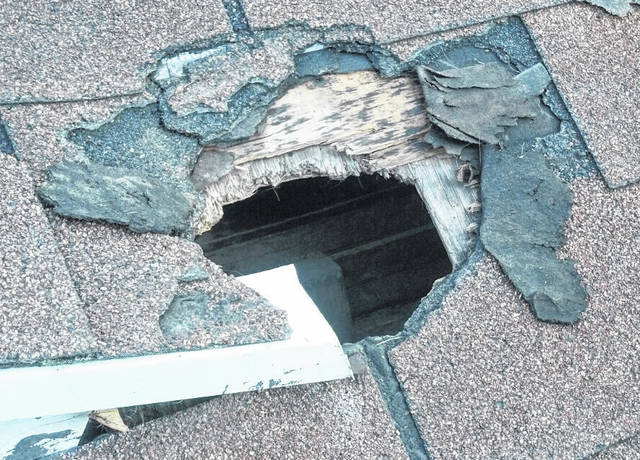 Example of a exterior large hole where nuisance wildlife, such as squirrels, possums and raccoons, have chewed through layers of wood and shingles to gain access to the home's attic.