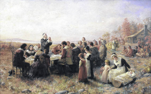The Pilgrims' first Thanksgiving feast is portrayed in a 1914 painting by Jennie A. Brownscombe. The story of the feast, and the Pilgrims themselves, is often wrapped in myths which we retell to this day.