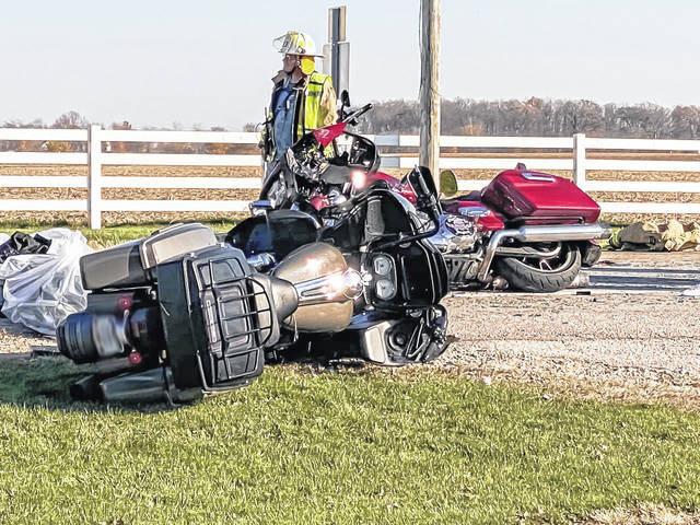 A crash involving a minivan and multiple motorcycles resulted in one man being airlifted to Miami Valley Hospital Saturday.