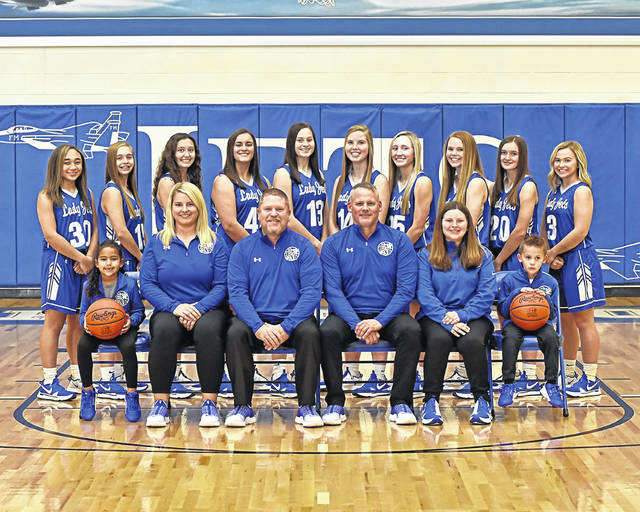 The 2020-2021 Franklin Monroe Lady Jets varsity basketball team and coaching staff.