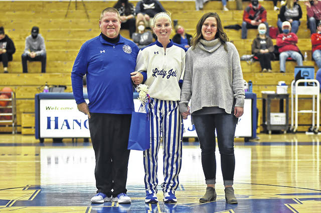 Franklin Moroe senior, Stella Shellabarger is honored on Senior Night along with her parents.