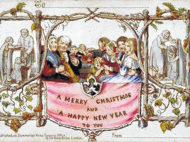 The very first holiday card, sketched by London artist J. R. Horsley in 1843, depicts a family at dinner, a father lifting his glass to toast, and images of helping the poor.