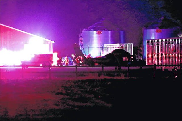 CareFlight transported a teenage girl to Miami Valley Hospital Saturday night following a fall from a grain bin.