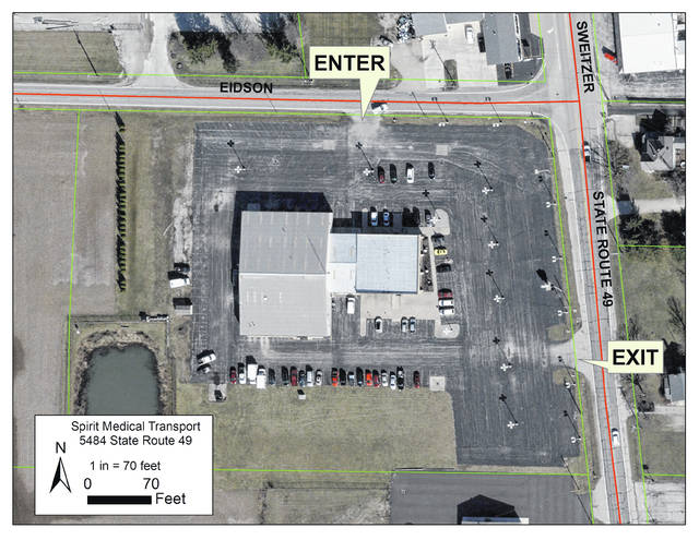 Spirit Medical Transport, 5484 State Route 49, Greenville, will be hosting a COVID-19 pop-up test site Dec. 3. Testing is free to the public. Shown is a map showing entry and exit locations at the test site.