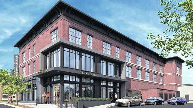 Architectural rendering of the former Inn at Versailles highlighting Midmark Corp.'s plans for a new sophisticated boutique hotel, restaurant and event space.