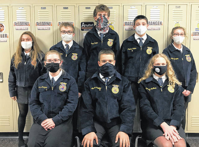 """<p dir=""""ltr"""">The first place eighth grade team, from left to right, back row: Lucas Timmerman, Lincolon Winner, Andrew Lyons, Luke Kaiser and James Schmitmeyer, and front row: Emmit DeMange, Blake Schmitmeyer and Colin Batten."""