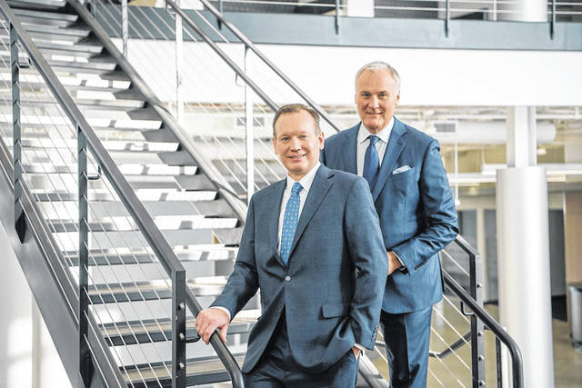 Jon Wells (left), the appointed CEO of Midmark Corp., alongside John Baumann (right), the current CEO. Wells will begin his role as CEO on April 1, 2021.