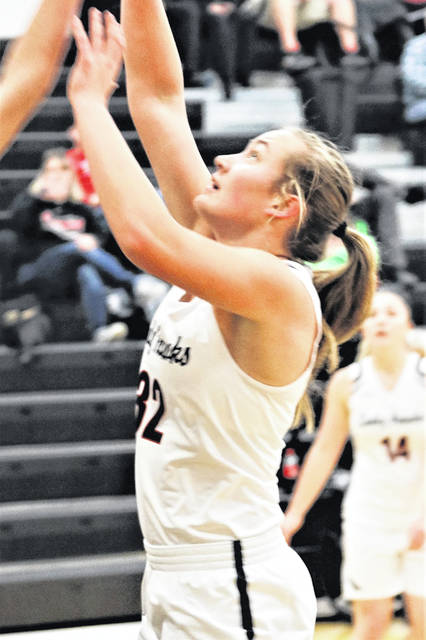 Taylor Stachler scores in the lane for Mississinawa in the Lady Hawks game with Parkway.