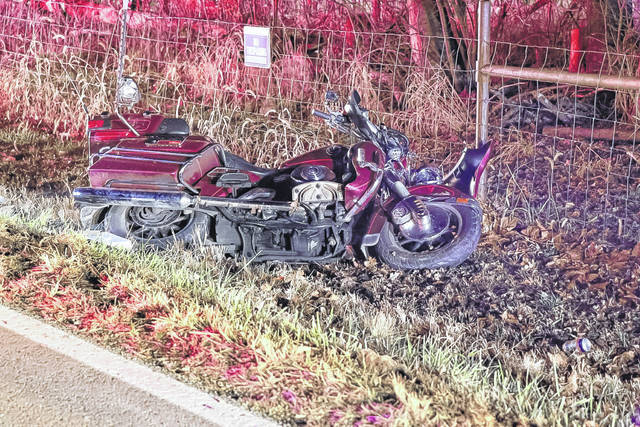 A collision between a motorcycle and a deer Monday evening resulted in a man being taken to Wayne HealthCare for evaluation.