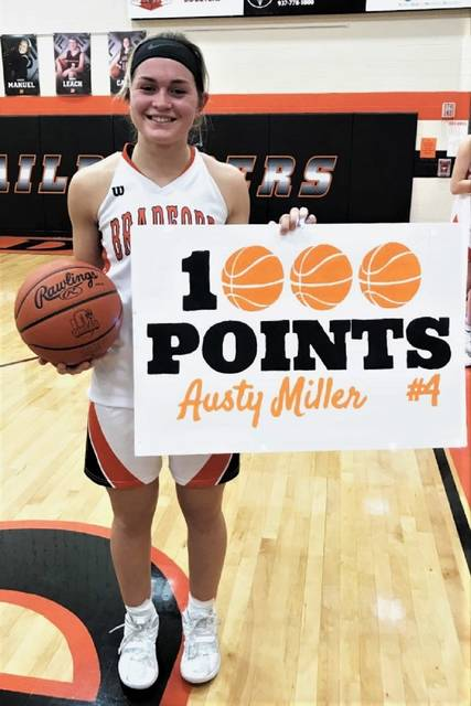 The Lady Railroaders' Austy Miller scores her 1,000th career point in Bradford's CCC win over Twin Valley South.
