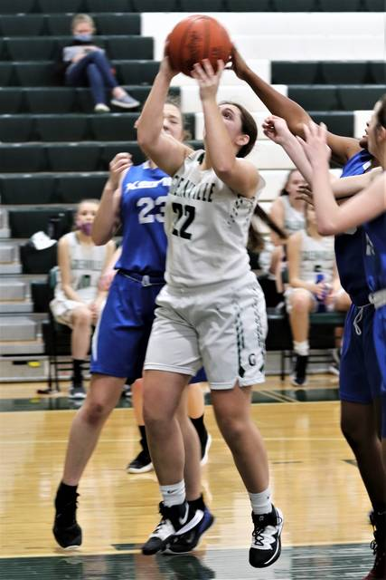 Laikyn Burner scores for the Lady Wave JV in the team's MVL win over the Lady Buccaneers.
