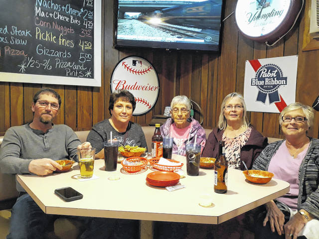 Three generations of the Lea family enjoy an evening out at Sharp's Tavern, located at 101 S. Main St., in Palestine. Pictured (left to right) are Darryl and Beth Boyter of Greenville, Virginia Lea and Dorinda Addington of Union City, Indiana, and Cheryl Horn, of Florida. Sharp's Tavern, owned by Justin and Robin Sharp, is open M-Th (9 a.m. to 9 p.m.) Fri (9 a.m. to 10 p.m.) and Sat. (8 a.m. to 10 p.m.)