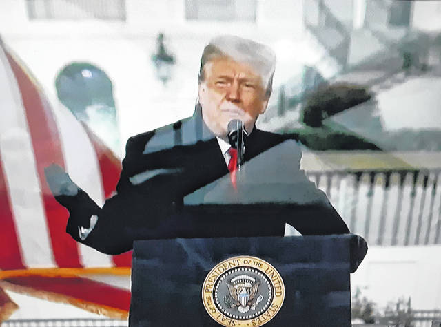 President Donald Trump speaks to supporters Wednesday, prior to Congress gathering to certify the 2020 electoral vote. Trump told them he would not concede to his opponent, Democrat Joe Biden. Following the speech, demonstrators entered the Capitol building.