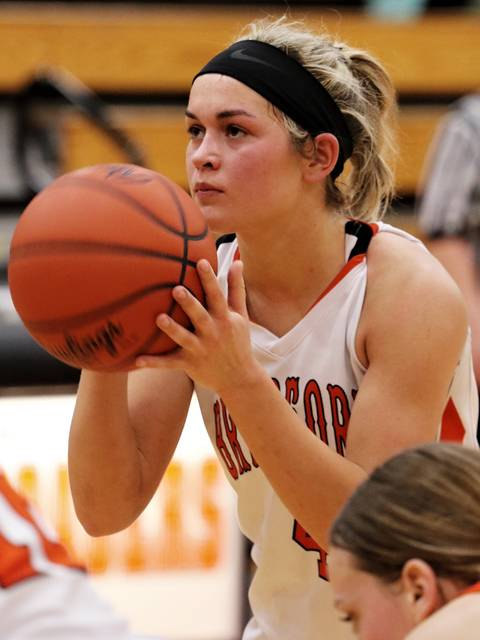 Austy Miller eyes the free throw line to seal the Lady Railroaders CCC win over National Trail.